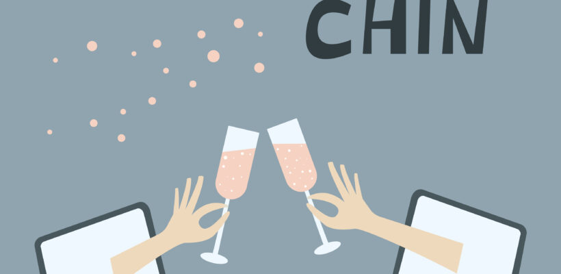 Having party with friends during quarantine. Stay at home and celebrate together. Chin-chin champagne glasses. Lettering typography poster with text for self quarantine times.